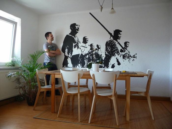 Fotograf a art stica en blanco y negro en la pared de casa for Como pintar un mural en una pared