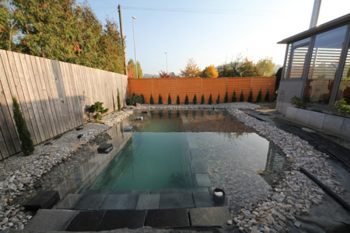 Un genial estanque para nadar en el jard n de casa bast simo for Cuanto me cuesta hacer una piscina