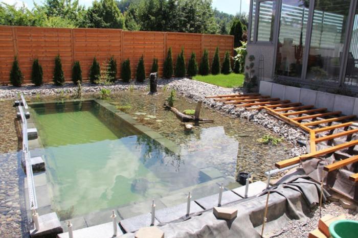 Un genial estanque para nadar en el jard n de casa bast simo for Construccion de estanques para tilapia