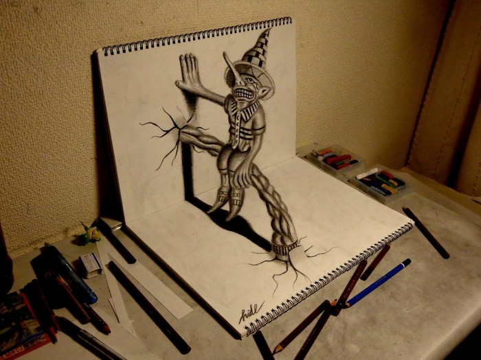 Mira los cuadernos con el ngulo exacto y ver s dibujos 3d for How to do 3d paper art