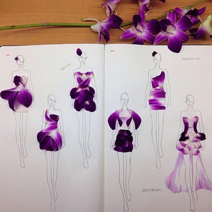 Originales Ilustraciones De Moda Usando Pétalos De Flores  e7cc96be0cd5